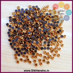 Round Shape Gold Color Fitting Kundan Stones ( 4mm )