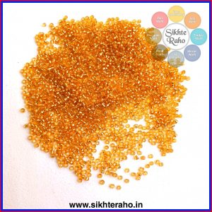 Seed Beads Gold Colour Silver line ( 3mm )